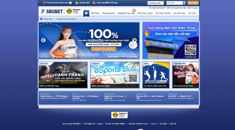 Nhà cái cá cược bóng đá Online SBOBET